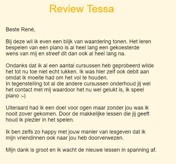 online pianoles review Tessa